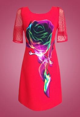 Đầm bông hồng cổ tròn